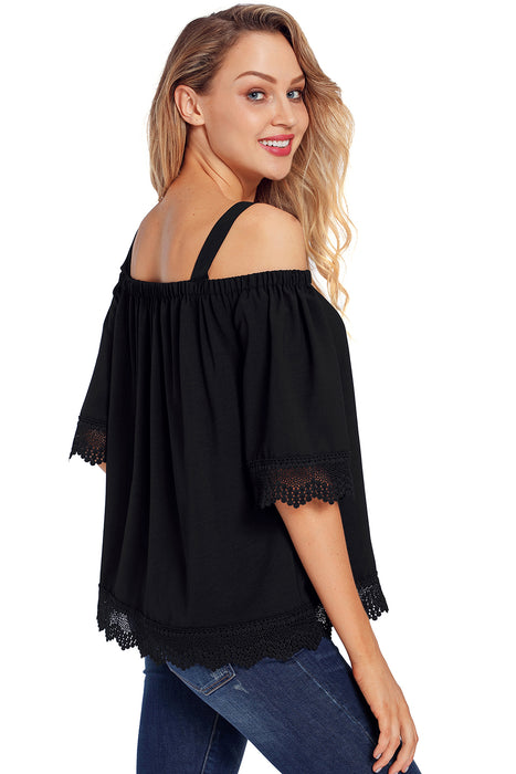 Z| Chicloth Black Crochet Lace Trim Cold Shoulder Blouse-Chicloth