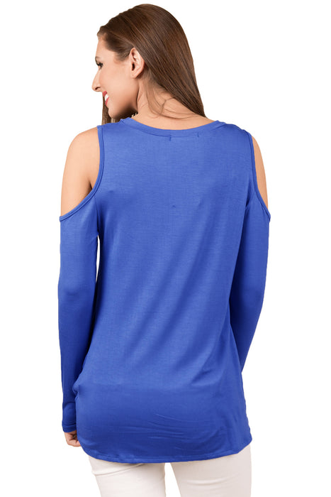 Z| Chicoth Royal Blue Cold Shoulder Knotted Hem Blouse Top-Chicloth