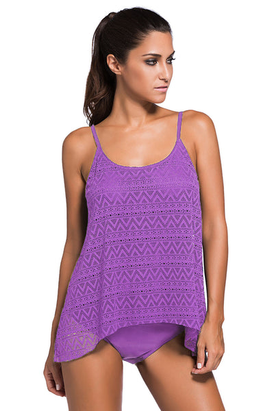 A| Chicloth Purple Lace Overlay Spaghetti Straps Tankini Swimsuit-Tankinis-Chicloth
