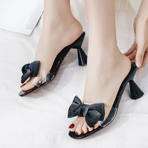 Chicloth Daily Bowknot Cone Heel Open Toe Slippers