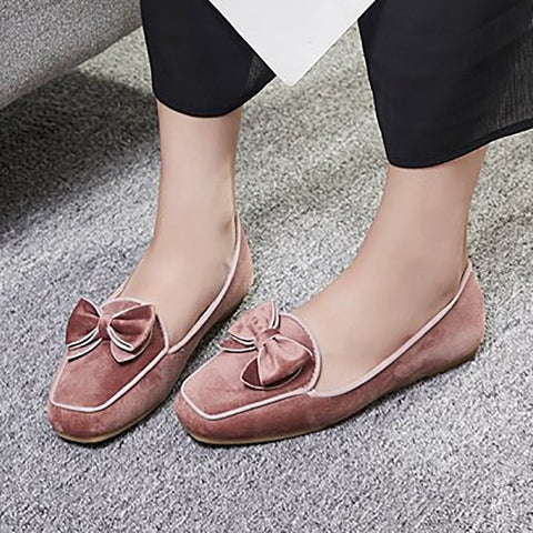 A| Chicloth Daily Bowknot Flat Heel Suede Square Toe Flats