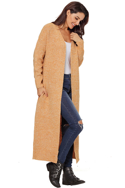 A| Chicloth Yellow Open Front Knit Long Cardigan-Sweaters-Chicloth