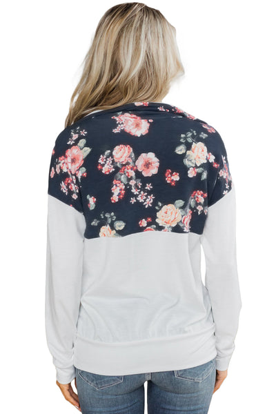 A| Chicloth Floral Splice White Kangaroo Pocket Zip Collar Sweatshirt-Coats-Chicloth