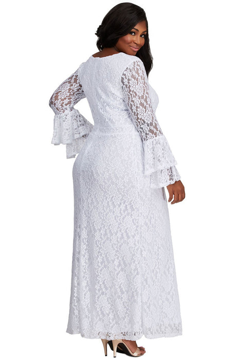 Z  Chicloth White Lace Bell Sleeve Plus Size Maxi Dress