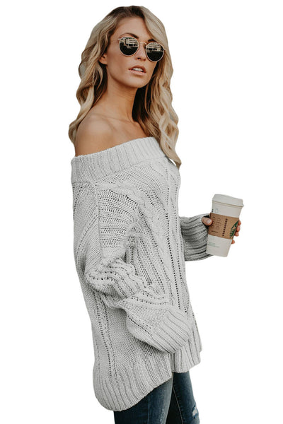 A| Chicloth Gray Off The Shoulder Winter Sweater