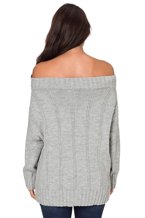 A| Chicloth Gray Off The Shoulder Winter Sweater-Sweaters-Chicloth