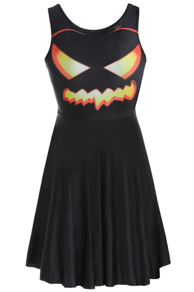 B| Chicloth Halloween Pumpkin Print Flared Dress-party dresses-Chicloth
