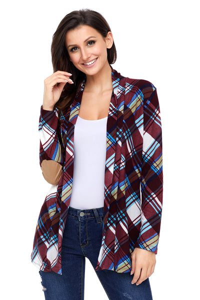 A| Chicloth Purple Suede Elbow Patch Long Sleeve Plaid Cardigan-Sweaters-Chicloth