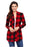 A| Chicloth Red Suede Elbow Patch Long Sleeve Plaid Cardigan-Sweaters-Chicloth
