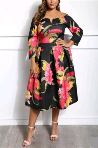 A| Chicloth Boat Neck Plus Size Printing Women'S Day Dress