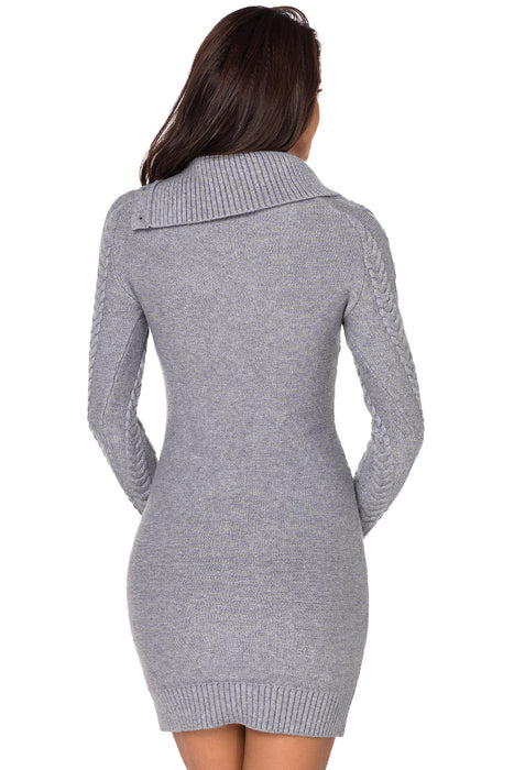 A| Chicloth Asymmetric Buttoned Collar Grey Bodycon Sweater Dres-Sweater Dresses-Chicloth