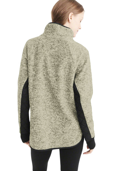 A| Chicloth Moss Green Fleece Asymmetrical Snap Pullover-Sweaters-Chicloth