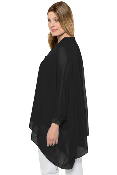 C| Chicloth Black Long Sleeve Chiffon Overlay Plus Size Blouse-Plus Size Tops-Chicloth