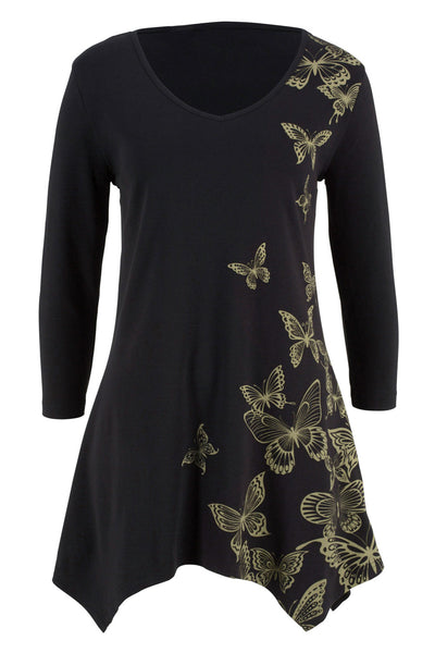 C| Chicloth Black V Neck Butterfly Print Plus Size Top-Plus Size Tops-Chicloth