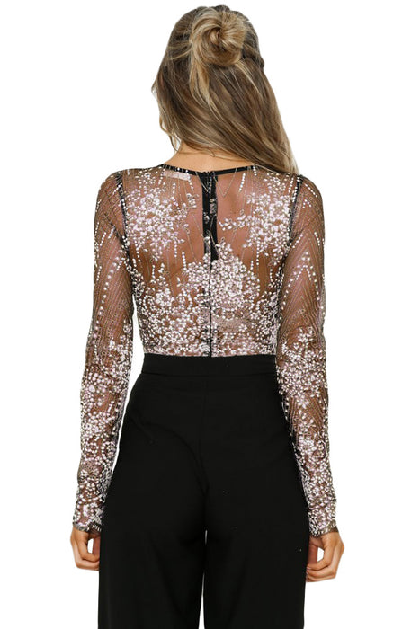 C| Chicloth Black Sexy V Neck Sheer Rhinestone Bodysuit-Bodysuits-Chicloth