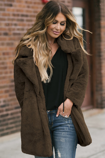 C| Chicloth Coffee Pocketed Faux Fur Longline Coat-Coats & Jackets-Chicloth