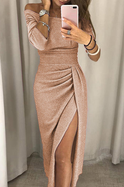 A| Chicloth  Shiny Off Shoulder Ruched Thigh Slit Bodycon Dresses