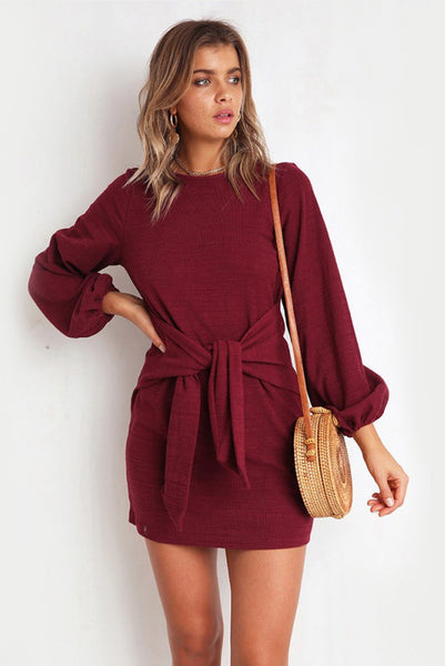 A| Chicloth Womens Crewneck Casual Dress Tie Front Long Sleeve T Shirt Mini Dresses