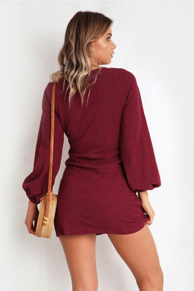 A| Chicloth Womens Crewneck Casual Dress Tie Front Long Sleeve T Shirt Mini Dresses-Mini Dresses-Chicloth
