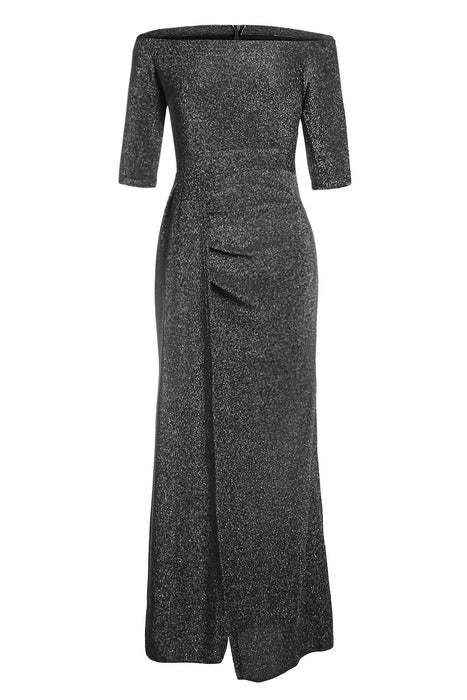 A| Chicloth Black Metallic Glitter Off Shoulder Maxi Party Dress-Evening Dresses-Chicloth