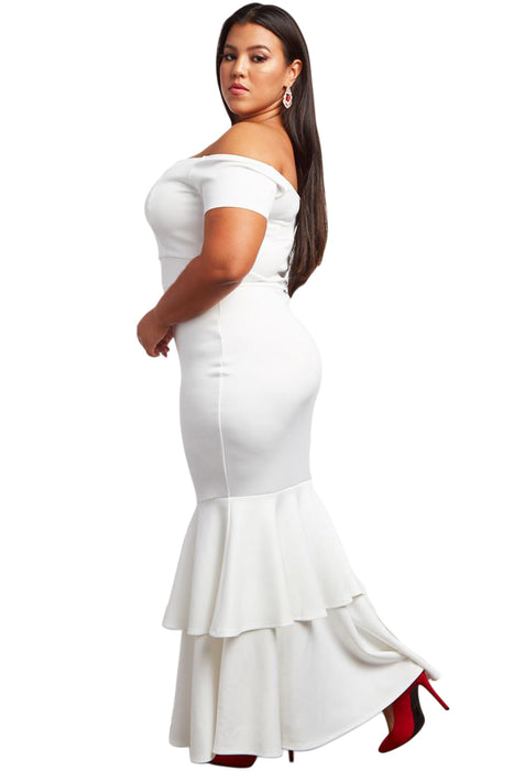A| Chicloth White My Everything Plus Size Mermaid Dress-Plus Size Dresses-Chicloth