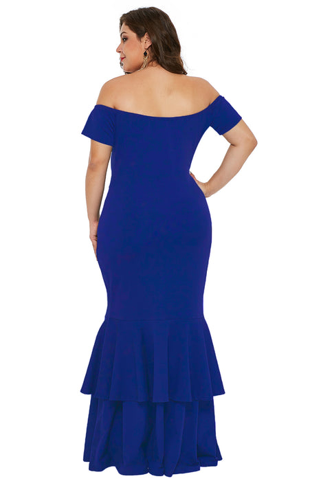 A| Chicloth Blue My Everything Plus Size Mermaid Dress-Plus Size Dresses-Chicloth