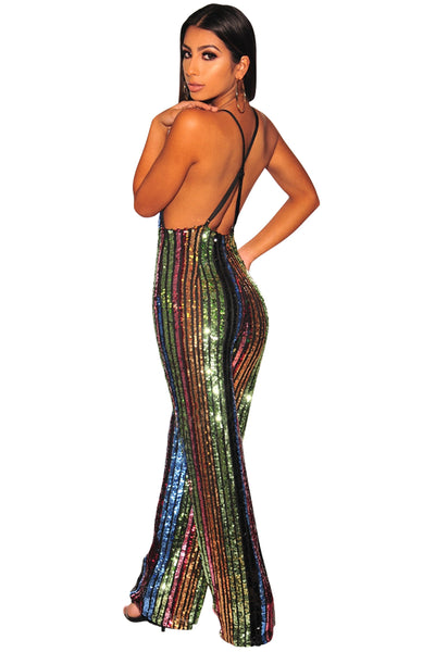 Z| Chicloth Rainbow Sequins Palazzo Jumpsuit-Jumpsuits-Chicloth