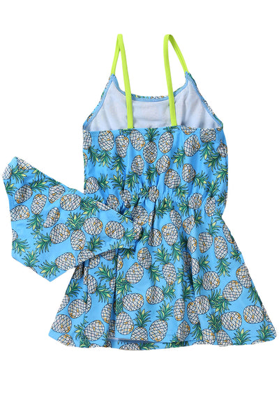 Z| Chicloth Blue Pineapple Print Little Girls Swimdress With Panty-Kids Swimsuits-Chicloth