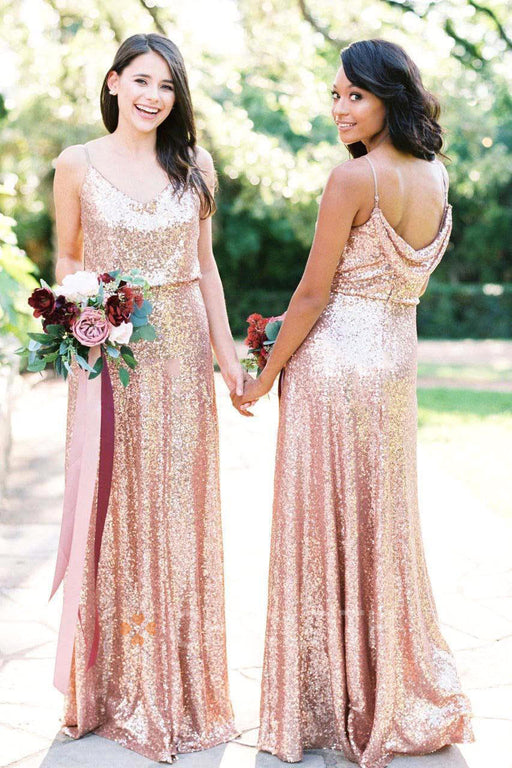 Chicloth A Line Glitter Sequins Elegant Party Bridesmaid Dresses