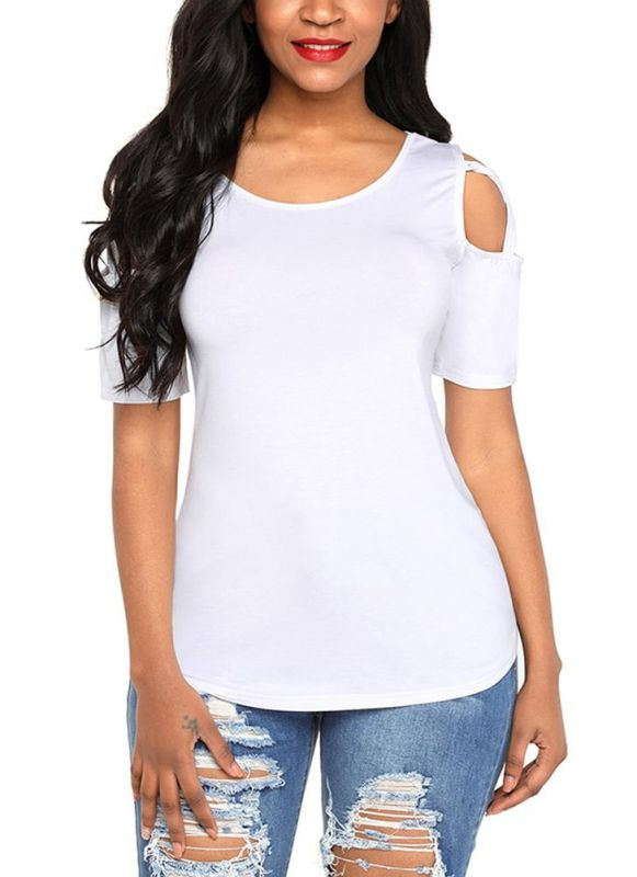 B/ Chicloth Cold Shoulder Short Sleeves Cut Out Crisscross Solid Tees Shirts - White / M