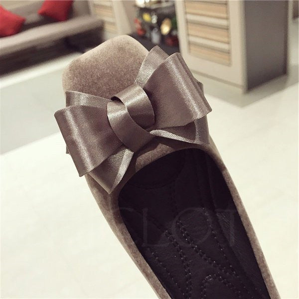 A| Chicloth Bowknot Suede Daily Elegant Flats
