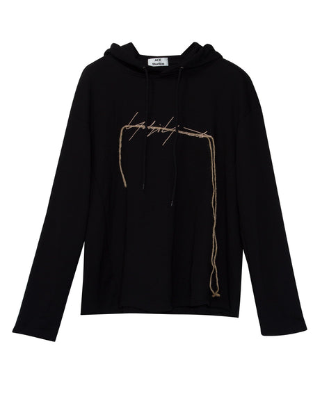 Chicloth Drawstring Letter Embroideried Pullover Women's Hoodie