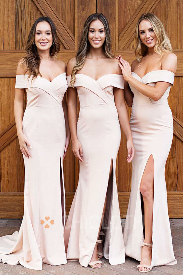 Chicloth Off The Shoulder Satin Formal Bridesmaid Dresses