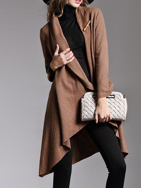 Asymmetric Long Sleeve Casual Coat