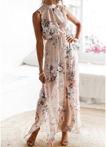 B| Chicloth Women Boho Floral Long Split Dress Summer Casual Beach Maxi Dress-polyester,print,anklelength,jewel,misses,sleeveless,maxidresses-Chicloth