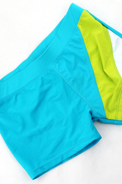 A| Chicloth Solid Blue Boy Flat Swimsuits-Chicloth