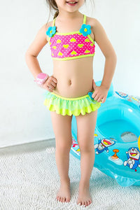 A| Chicloth Toddler Girls Swimsuits Floral Two Pieces Siwmwear Polyester Girl Bikini-Chicloth