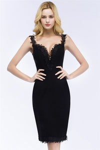 AA| Chicloth Mermaid Knee Length Sweetheart Sleeveless Black Appliques Homecoming Dresses