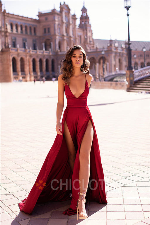 A| Chicloth Deep V-Neck Burgundy Satin Long Prom Dresses
