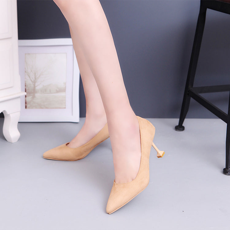 Women's Pumps Closed Toe Heels Low Heel Suede Shoes - Apricot / 37