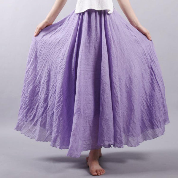 AA| Chicloth Cotton A-line Solid Color Women Skirt