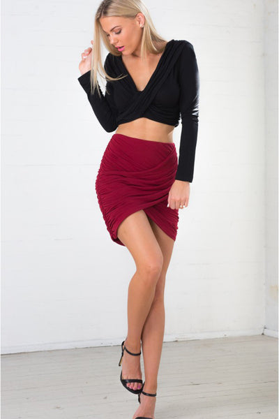A| Chicloth 2018 New Women Sexy Pleated Nightclub Bag Hip Skirt - Chicloth