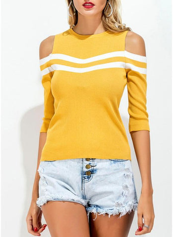 B| Chicloth Cold Shoulder Knitted Contrast Stripe O Neck Half Sleeve T-Shirt