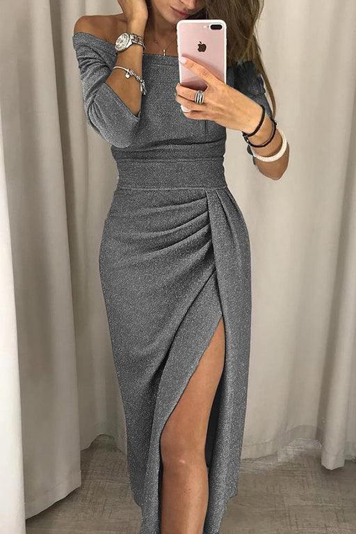 A| Chicloth Shiny Off Shoulder Ruched Thigh Slit Bodycon Dresses-Bodycon Dresses-Chicloth
