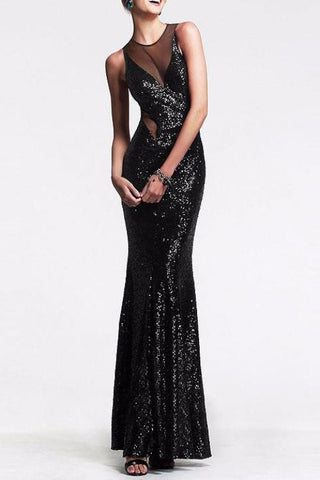 B| Chicloth New Sexy Wrapped Chest Sequins Mesh Prom Dress - Chicloth