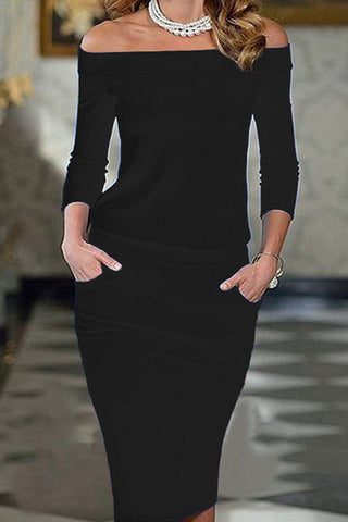 A| Chicloth Off Shoulder 3/4 Sleeve Pencil Dress-Midi Dresses-Chicloth