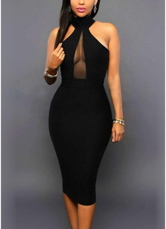 B/ Chicloth Women Bodycon Midi Dress Halter Cold Shoulder Sleeveless Cutout Clubwear Party Dress - Black / S