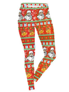 Orange Santa Claus Printed Christmas Leggings Casual Feet Pants for Women