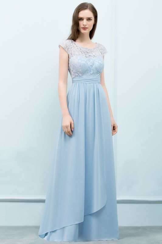 Chicloth A-line Chiffon Lace Scoop Cap Sleeves Floor-Length Bridesmaid Dresses-Bridesmaid Dresses-Chicloth
