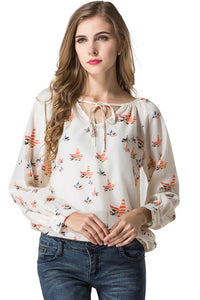 B| Chicloth Elegant Floral Print Blouse V Neck Casual Vintage Shirt - Chicloth